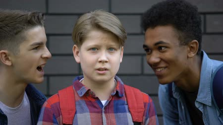 médio : Malicious students teasing boy face-to-face, telling insults, emotional bullying Stock Footage