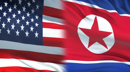 dprk : USA and North Korea officials exchanging confidential envelope, flags background
