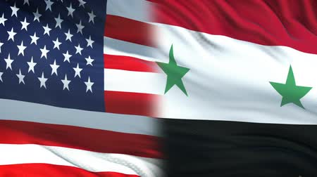 damasco : USA and Syria officials exchanging confidential envelope, flags background