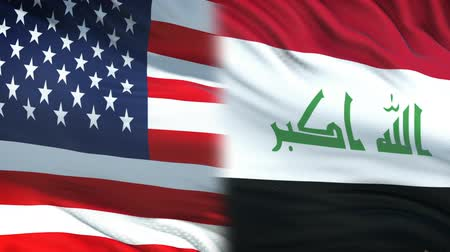 correspondência : USA and Iraq officials exchanging confidential envelope, flags background