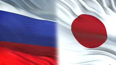 tokyo government : Russia and Japan officials exchanging confidential envelope, flags background