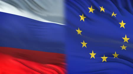 spying : Russia and European Union officials exchanging confidential envelope, flags Stock Footage