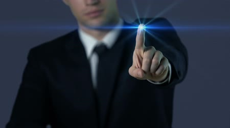 impressão digital : Man in suit touching screen, fingerprint access, modern technologies, future