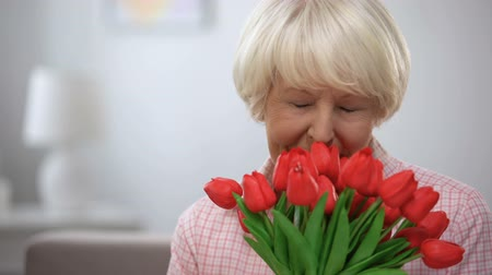 cheirando : Adorable elderly female sniffing bunch of tulips and smiling at camera, present