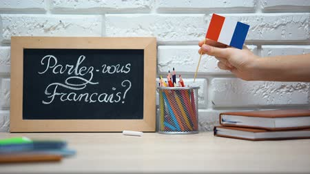 speaker : Do you speak French written on board, hand putting France flag in box, language Stock Footage
