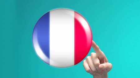 traductor : Female hand pushing France flag button, foreign language studying, technologies
