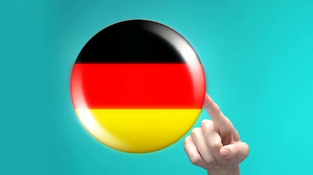 traductor : Womans hand pushing Germany flag button, foreign language studying, application