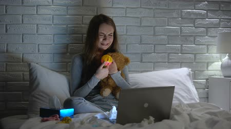 fertility : Depressed woman crying hugging toys, missing lost baby, infertility concept Stock Footage