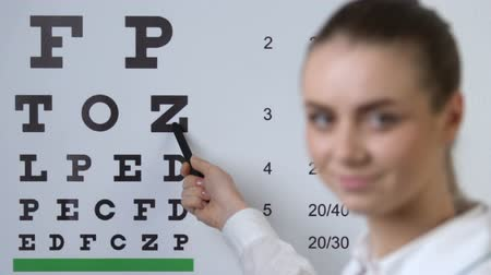 gözler : Female oculist pointing letter test chart, eyesight examination, vision checkup