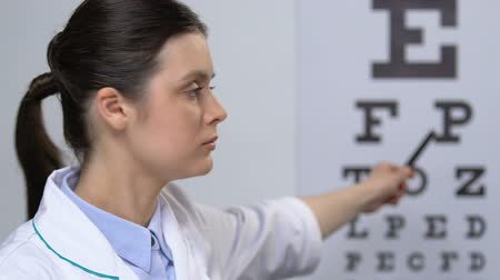 glaucoma : Ophthalmologist showing letters on eye chart, vision examination negative result Stock Footage