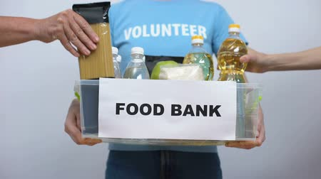 donate : Volunteer holding food bank container, hands putting provision in box, help Stock Footage