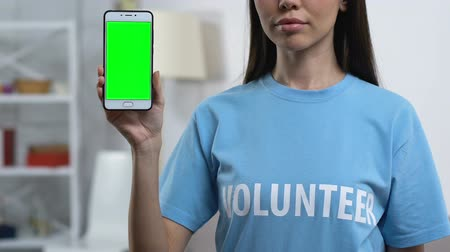 voluntário : Lady volunteer demonstrating prekeyed smartphone to camera, charity application Vídeos