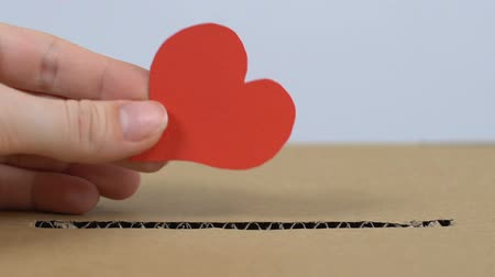 salva vidas : Hand putting paper heart in cardboard box, helping people with cardiac diseases