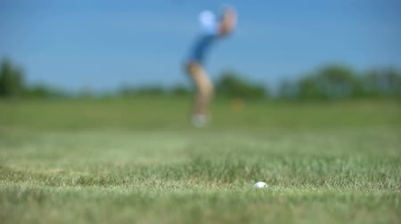 敗者 : Silhouette of male golf player losing ball, upset with bad shot result at course