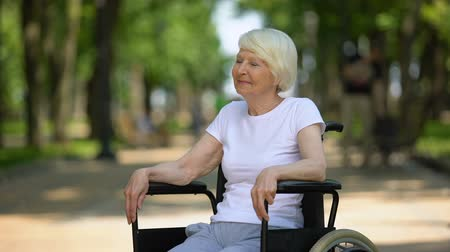 handikap : Smiling old woman in wheelchair enjoying sunny day in hospital park, recovery