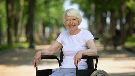 umutlu : Smiling elderly woman in wheelchair looking into camera, sunny day in park Stok Video