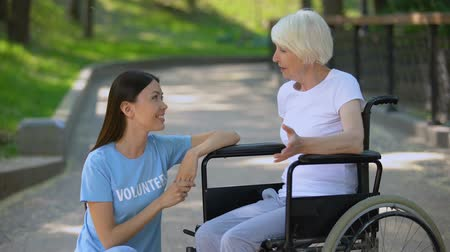 nursing : Disabled senior lady in wheelchair talking to volunteer, conversation support
