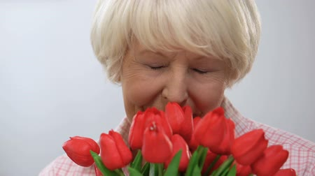 den matek : Adorable old lady sniffing bouquet of tulips, enjoying aroma, smiling at camera Dostupné videozáznamy