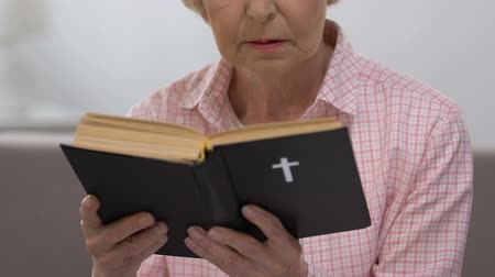 bible study : Religious old lady reading Holy Bible, faith and belief, Christianity concept Stock Footage