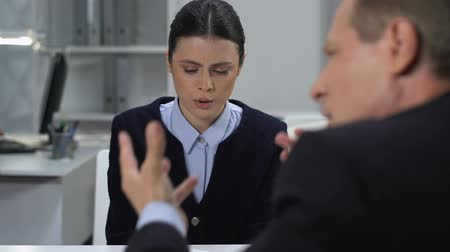 subordinate : Desperate female leaving office tired of shouting boss, psychological pressure