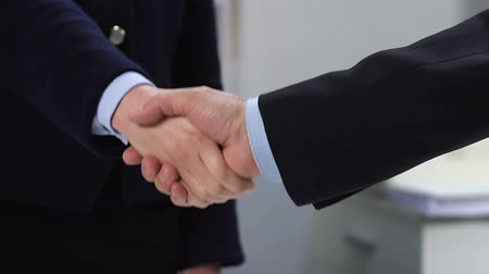 unie : Male and female partners shaking hands, business agreement, successful deal