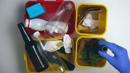sfruttamento : Female hands in gloves sorting litter in different bins, recycling, time lapse
