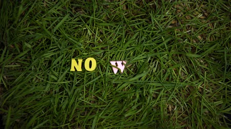 frase : No waste phrase on green grass, environmental pollution problem, nature saving
