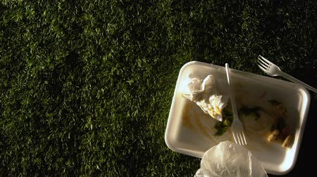 separado : Used plastic tableware seen in car lights on green lawn in park, garbage, hazard Stock Footage