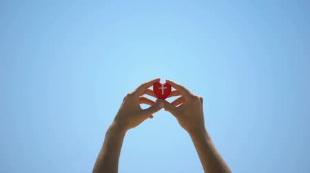 metáfora : Male hands holding heart toy against sky, help to cardiac patients, charity
