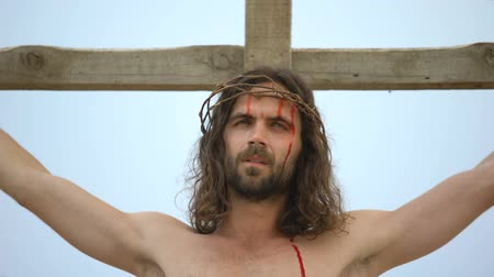 crucifixo : Jesus suffering on cross, looking in sky praying to god to forgive sin people