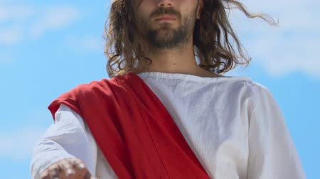 batismo : Jesus raising hand for blessing, divine healing of diseases, religious miracle Vídeos
