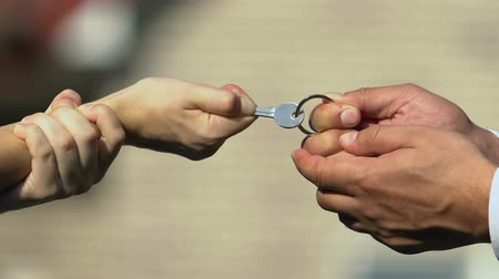 judiciaire : Man and woman holding key pulling different directions, separation of property