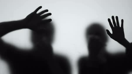 damp : Frightened people shadows dying gas poisoning, radioactive pollution, disaster