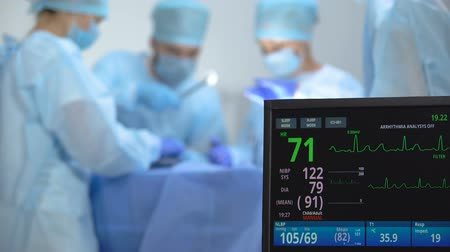 invasive : Ecg monitor recording activity of heart rate during hospital operation, surgery