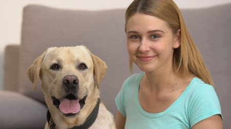 itaat : Cute dog and happy young woman looking in camera, pet companionship, best friend