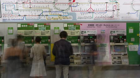 ticket machine : Busy Metro Rail Station in Tokyo Stock Footage