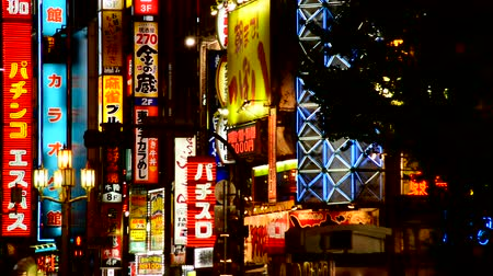 caracteres : Advertising Signs in Tokyo Japan Stock Footage