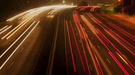 samochody : Time Lapse of Busy Los Angeles Freeway at Night