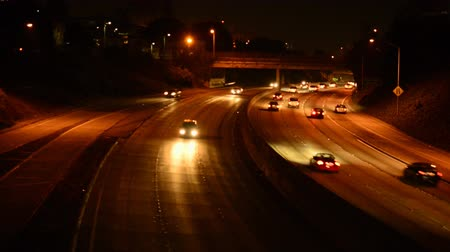 prędkość : Freeway Traffic at Night in Los Angeles California