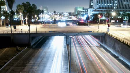 streaking : Downtown Los Angeles Traffic - Time Lapse - Zoom
