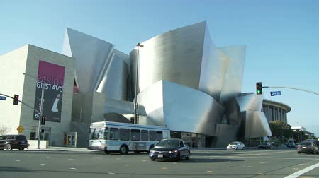 hal : Time-lapse van Disney Concert Hall in Los Angeles Stockvideo