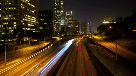 semafori : Downtown Los Angeles Traffico Notte Filmati Stock