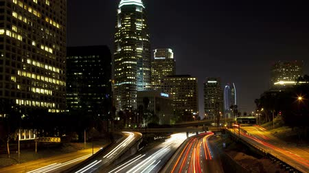 light trails : Downtown Los Angeles Traffic Night Stock Footage