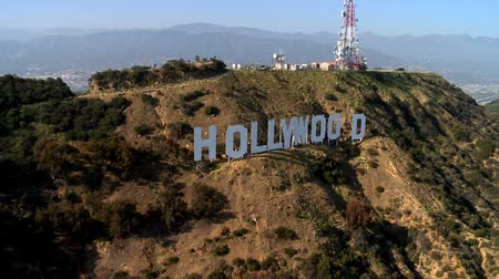 Aerial of the Hollywood Sign Stock mozgókép