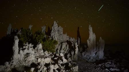 perseids : Scenic Mono Lake California at night Stock Footage