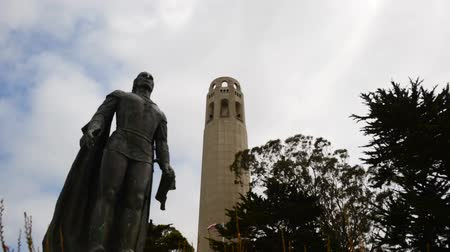 bronz : Coit Tower and Christopher Columbus Stok Video