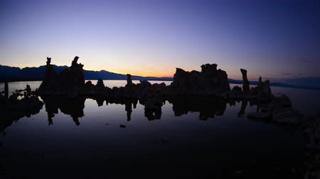 sea monkeys : Tufa Formation on Scenic Mono Lake California at Sunset - Time Lapse -  4K -  4096x2304