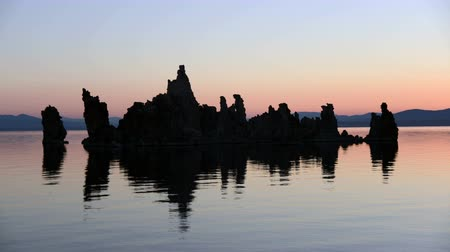 brine shrimp : Tufa Formation on Scenic Mono Lake California at Sunset - Time Lapse    -  4K