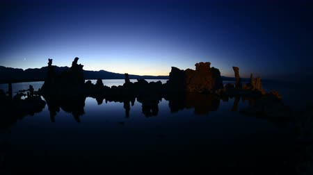 brine shrimp : Tufa Formation on Scenic Mono Lake California at Sunset - Time Lapse -  4K -  4096x2304