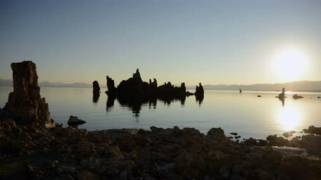 brine shrimp : Tufa Formation on Scenic Mono Lake California at Sunrise - Time Lapse -  4K -  4096x2304